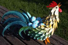 Amazing rooster made from paper egg cartons & paper mache - I love him!!  Fun up-cycle project.