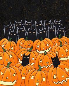 Black Cats & citrouilles  Halloween chat Folk par KilkennycatArt