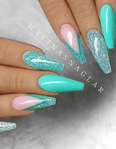 54 Stunning Acrylic Gel Coffin Nails Design For Summer Nails To Look Elegant! 54 Stunning Acrylic Gel Coffin Nails Design For Summer Nails To Look Elegant! Bright Summer Acrylic Nails, Best Acrylic Nails, Acrylic Nail Designs, Acrylic Gel, Teal Nail Designs, Teal Nails, Glitter Nails, Blue Glitter, Nail Pink