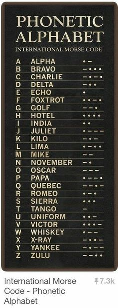 International Morse Code - Phonetic Alphabet: good to know. Survival Tips, Survival Skills, Homestead Survival, Phonetisches Alphabet, Alphabet Symbols, Nato Phonetic Alphabet, Useful Life Hacks, Things To Know, Just In Case