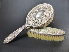Antique Silver Plated Wood Backed Hair and Clothes by EdenKitsch