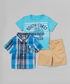 Look at this BOYZ WEAR Blue & Navy Plaid Button-Up Set - Toddler on #zulily today!