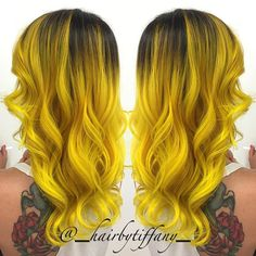 Neon yellow hair color and mermaid waves by Tiffany Eeckhoute. #hotonbeauty facebook.com/hotbeautymagazine