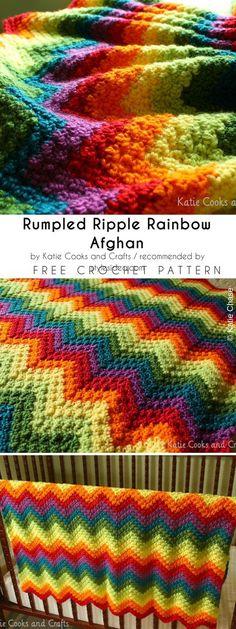 Katie Cooks and Crafts: Rumpled Ripple Rainbow Crochet Baby Afghan Pattern Grannies Crochet, Crochet Ripple Afghan, Crochet Baby Blanket Free Pattern, Crochet For Beginners Blanket, Free Crochet, Crochet Blankets, Crochet Afghans, Baby Blankets, Easy Crochet