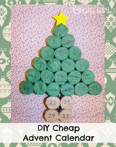 DIY Cheap Advent Calendar- made from toilet paper rolls and tissue paper! @Nhu Burgoyne With Us 3 #advent #Christmas