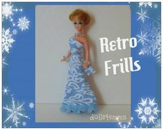 Retro franje GOWN, Matching HANDTAS en sieraden Set - Dawn Doll kleding - Custom mode - door dolls4emma