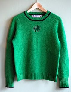 Early 80s style: Preppy monogrammed sweaters in kelly green and blue trim. I had one EXACTLY like this, Wore it over a light blue or light pink button down oxford shirt and my add-a-bead necklace.