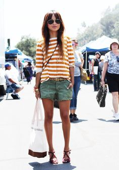 Casual weekend style: stripes and cutoffs.