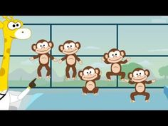 5 Little Monkeys - Nursery Rhymes - Toobys. This song is one of the most popular nursery rhymes. Kids enjoy watching and singing it over and over. Toddler Home Activities, Nanny Activities, Best Nursery Rhymes, Nursery Songs, Elementary Spanish, Teaching Spanish, Kindergarten Music Lessons, Monkey Nursery, Spanish Lessons For Kids
