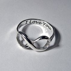 Infinity ring silver engraved stacking LOVE