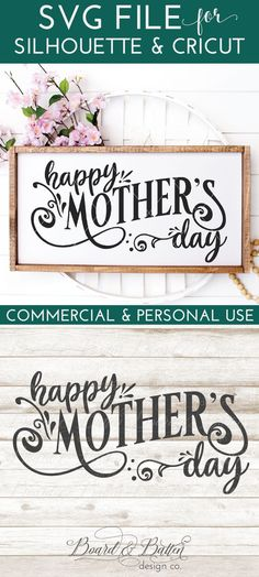 Happy Mother's Day SVG File for Silhouette & Cricut cutting machines. Includes DXF, EPS, and PNG files as well as small business commercial license. Silhouette School Blog, Silhouette Cameo Projects, Mothers Day Quotes, Mothers Day Crafts, Happy Mother S Day, Happy Mothers, Diy Mother's Day Projects, Mother's Day Diy, Wall Signs