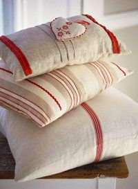 love the red and white and the simplicity of these pillows
