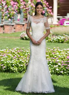 Sabrina Neckline Crystalized Lace Mermaid Sincerity Wedding Gowns 3911 with Jacket