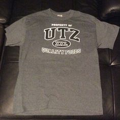 """Utz potato chip shirt It's your favorite brand of chips back in action! Utz going hard with college style font and clean distinct logo. Show your love and support by rocking America's favorite potato chip! This is unisex, but I think it's technically """"men's."""" No tears or stains Shirts Tees - Short Sleeve"""