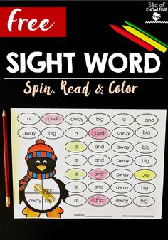 Free Sight Word Spin Read and Color Penguin Blog Post. Download free sight word spin, read and color penguin themed activities.