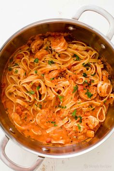 Easy 30-minute Shrimp Pasta with creamy tomato vodka sauce! You'll want to make this again and again. On SimplyRecipes.com
