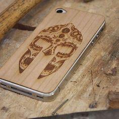 Wooden i phone Skin | Spartan Tattoo Design | Unique Gifts For Men | www.gwag.uk.com