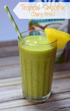 Start your day with this dairy free tropical smoothie! Made with coconut milk and other tropical fruit, it'll add a little sunshine to your morning.