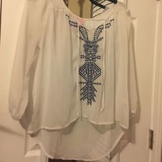 See-through white blouse Light, cute white blouse. Great with shorts & jeans! Worn a couple of times, but in good condition; see-through Tops Blouses