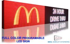 """LED Signs Full Color, P13, Outdoor 12"""" X 50"""" Storefront Message Board, Programmable Scrolling Display, Computer controlled-Industrial Grade Business Tools. P13 Outdoor Full Color sign with scrolling text option. 3 YEAR WARRANTY INCLUDED *one year full warranty and two year limited warranty. LAN and USB connectivity. Animation and Neon sign features. Display any language or logo."""