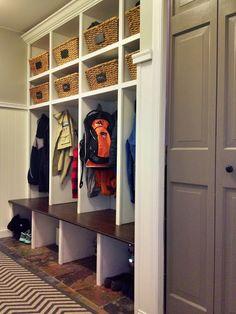 Mudroom lockers, mudroom cubbies, gray doors, painted gray doors