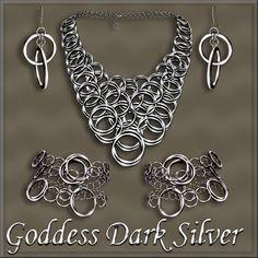 Goddess Dark Silver jewelry set