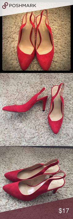 Sexy Red Heels Low Heel Size 8.5 Gently worn, in excellent condition sexy red heels. This is a darker red, suede material, perfectly paired with a dark red lippy! Ask if you have any questions. Kelly & Katie Shoes Heels