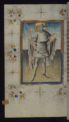 Illumination, book of hours, St. Sebastian