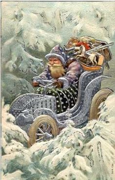 Early century Christmas card. Cars were just so new that they were a novelty and even Santa had to have one!