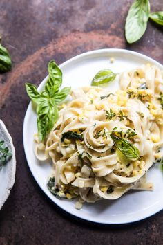 Creamed Corn Pasta with Fried Herbs | halfbakedharvest.com @hbharvest