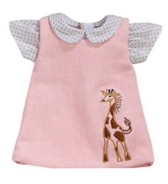 774087fcc42 15 Inch Baby Doll Pink Jumper by Sophia s with Embroidered Giraffe Detail    White Polka Dot Blouse