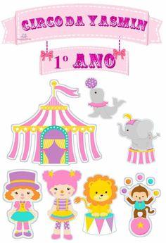modelos de topo de bolo circo para imprimir grátis. Topper de bolo circo rosa para imprimir e os mais lindos modelos de biscuit para o bolo Farm Themed Party, Circus Theme Party, Circus Birthday, Farm Party, Party Themes, Vintage Circus Party, Carnival Themes, Class Decoration, Baby Prints