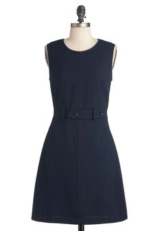 DARLING  Thoroughly Mod Dress in Navy - Mid-length, Blue, Solid, Work, A-line, Sleeveless, Fall