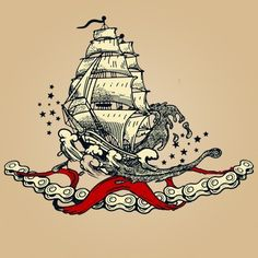 Full-rigged Ship Tattoo in Waves