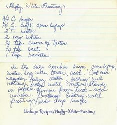Old Fashioned Fluffy White Frosting Retro Recipes, Old Recipes, Vintage Recipes, Dinner Recipes, Fluffy White Frosting, Cream Frosting, White Frosting Recipes, Sugar Cookie Frosting