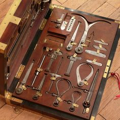 Engineer's Tool Box French fitted box with brass tabs and brass corner reinforcments