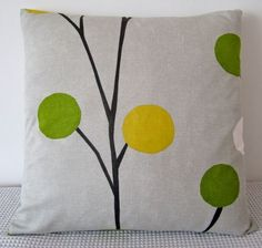 Floral retro green, yellow and white cushion Cover, contemporary designer fabric slip cover, throw pillow, decorative cushion, accent pillow. $25.00, via Etsy.