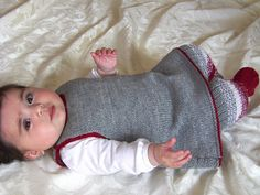 THIS LISTING IS FOR THE PDF PATTERN ONLY This sweet little outfit has striped leggings, with little shoes built into the pattern (they won't slip off). Part of the leggings are knitted in single row stripe pattern, which has been fully explained in the instructions together with picture