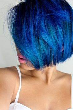 Blue Bob Haircut-would love to dye my hair this color