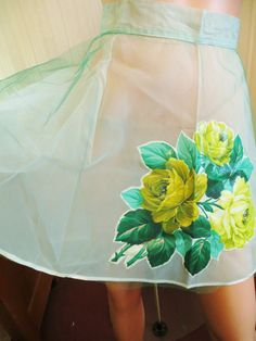 Vintage 50s Frilly Apron, Mid Century Rockabilly Apron, Green Yellow, Large Rose…