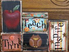 Teacher Gift - Think, Teach and Inspire  Teacher's Sign. $40.00, via Etsy.