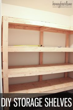 Look at how simple these diy storage shelves are to make! They make your storage organization a snap.