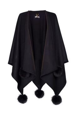 Umhang-29T190-KK-schwarz_PB-schwarz Kimono Top, Tops, Women, Fashion, Fur, Black, Moda, Fashion Styles, Fashion Illustrations