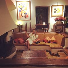 Gettin groovy in a French sunken living room at La Colombe D'Or, a hotel that has one of the most important private art collections because artist used to give their art right to the establishment for payment or gifts.