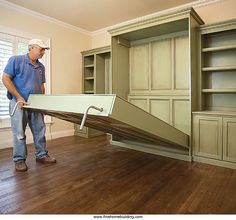 Lee - want a built-in murphy bed in the study with a door to the downstairs bathroom so it can double as a mother-in-law/guest suite (basement living rooms murphy beds) Murphy Bed Ikea, Murphy Bed Plans, Camas Murphy, Fold Down Beds, Decoration Inspiration, Decorate Your Room, Guest Suite, Spare Room, Home Bedroom