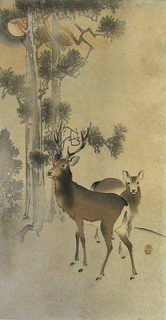 Two deer next to pine trees, by Ohara Koson, ca 1915