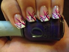 French tipped nail design with pink and purple.