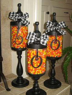 BOO DIY from scratch Apothecary Jars~Hobby Lobby here I come! (NOTE: I could not find the 3 sizes of candle sticks at Michael's or Hobby Lobby, so I bought a finished black set from Walmart...LOVE THEM! ~ So much easier too!)