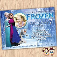 Hey, I found this really awesome Etsy listing at https://www.etsy.com/listing/197182761/frozen-birthday-invitation-frozen
