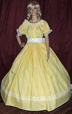 Civil War  Yellow Gingham Check Costume Dress Gown